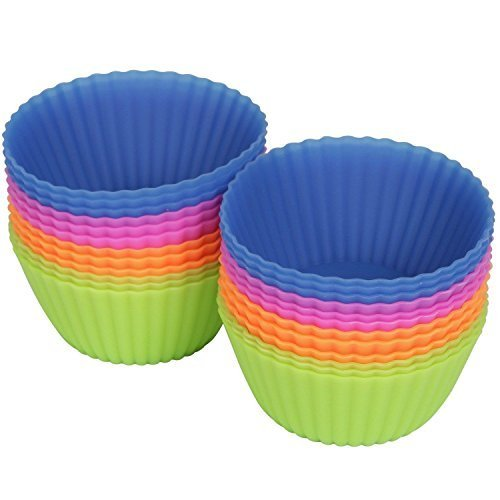 Camptag™ Reusable Silicone Baking Cups, Cupcake Liners, Muffin Molds, 24 pack, 6 Colors