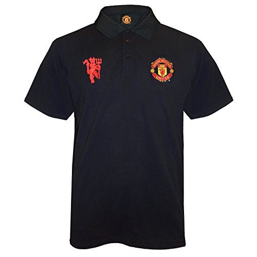 Manchester United FC Official Soccer Gift Mens Crest Polo Shirt Black Medium Manchester United Christmas