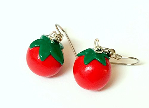 Polymer Clay Tomato Fruit Vegetable Dangle Earrings (Boutique Polymer Clay)