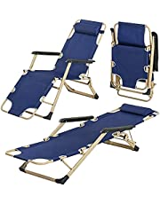 Camping Chair Beach Chair Folding Bed with Adjustable Headrest Support, Heavy Duty Recliner Outdoor Portable Lounger Sun Lounge Chair for Beach Sunbathing, Patio, Pool and Lawn, Supports 330lbs