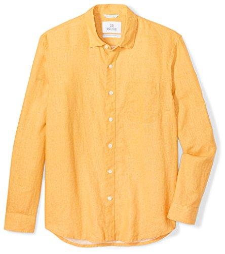 28 Palms Men's Standard-Fit Long-Sleeve 100% Linen Shirt, Orange Spice, Large