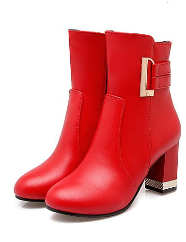 5 Mujer Casual semicuero tacón Beige Zq Eu34 oficina us4 Rojo Moda botas Trabajo Y Cn33 Marrón 2 A La negro Uk2 botas 5 4 Black Robusto Pqdaw7dS