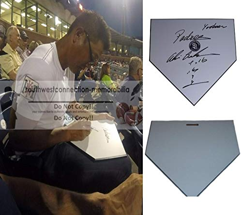 (San Diego Padres Akinori Otsuka Autographed Hand Signed Baseball Home Plate Base with Exact Proof Photo of Signing and COA- SD Padres Memorabilia)