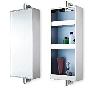 Stainless Steel Rotating Hanging Mirror Cabinet with 3 Shelves ...