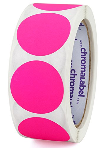 (ChromaLabel 1-1/2 inch Color-Code Dot Labels | 500/Roll (Fluorescent Pink))