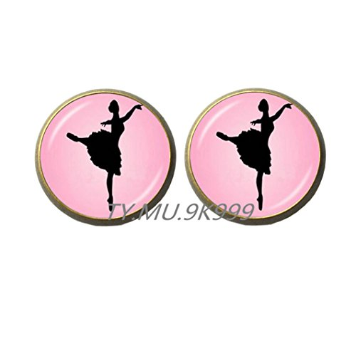 Yao0dianxku Ballet Group ballerina Earrings, Ballerina dance jewelry, ballet dance jewelry, Glass dome art Stud Earrings with gift bag.Y065 (2) (Degas Bag Ballet)