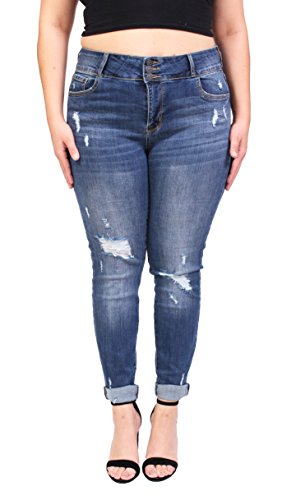 Cello Jeans Women Plus Size Middle Rise Distressed Cropped Skinny Jeans With 3 Front Button 18 Medium Denim