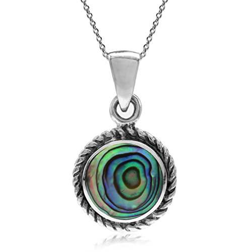 Silver Paua Shell Necklace - Abalone/Paua Shell Inlay 925 Sterling Silver Rope Solitaire Pendant w/ 18 Inch Chain Necklace