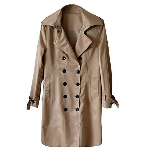 (Pervobs Womens Winter Lapel Double-Breasted SlimLong Trench Coat Overcoat Jacket Outwear (US:12, Khaki))