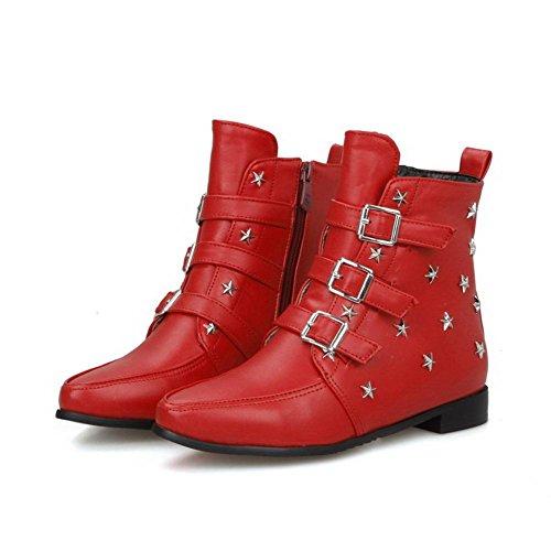 AllhqFashion Mujeres Caña Baja Sólido Cremallera Mini Tacón Botas con Remache Metal Rojo