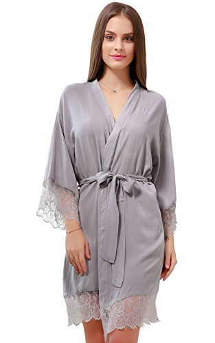 Satin Exclusive Cotton - GoldOath Women's Kimono Robes Cotton Lightweight Robe Long Bathrobe Soft Sleepwear V-Neck Ladies Nightwear with Lace Trim Gray