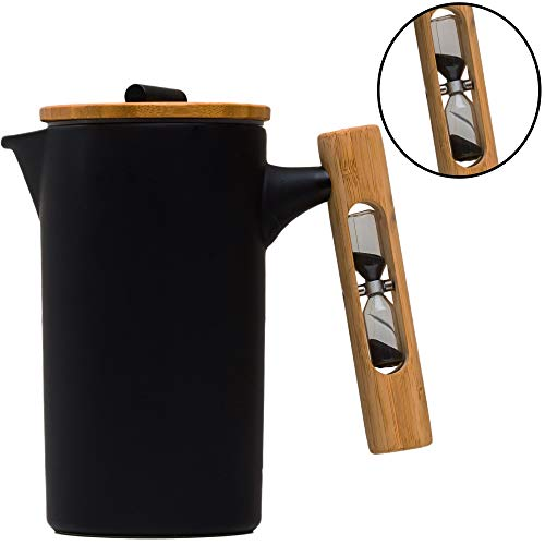 StramperPress| French Press coffee maker | HourGlass Timer| Coffee Press| (Black, Ceramic)