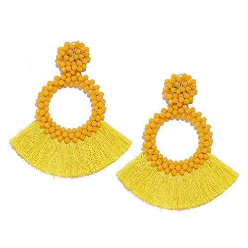 - Beaded Tassel Earrings for Women - Statement Handmade Beaded Fringe Dangle Earrings, Idea Gift for Mom, Sister and Friend (Y-Yellow)