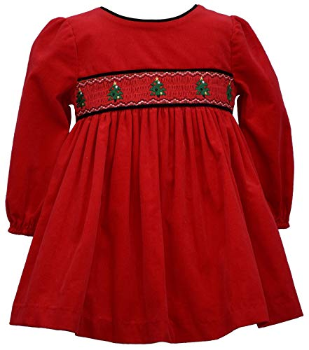 Bonnie Jean Baby Girl's Holiday Christmas Dress - Red Smocked Corduroy for Baby and Toddler and Little Girls