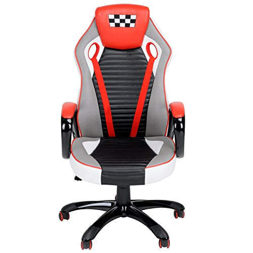 Racing Chair FurnitureR Desk Chair Executive Swivel Leather Office Chair Racing Style Task Chair High-back Gaming Chair Red