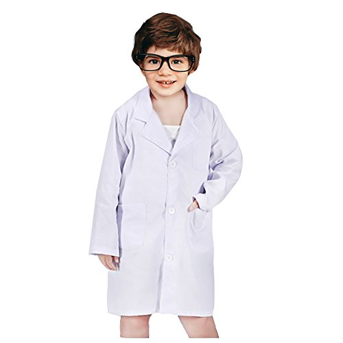 Kids Unisex Lab Coat White Laboratory Coat for Doctor Scientist Cosplay Costume (White, Middle)