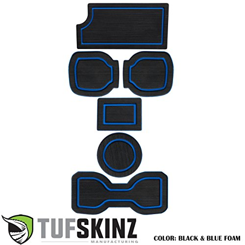 TufSkinz 2016-Up Toyota Tacoma 3RD GEN Interior Cup Holder Inserts w/QI Charger (Black/Blue, Automatic Transmission – Include QI Insert)