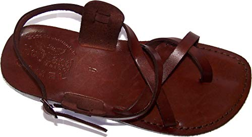 Holy Land Market Unisex Adults/Children Genuine Leather Biblical Sandals (Jesus - Yashua) Style IV - 40 M EU Brown