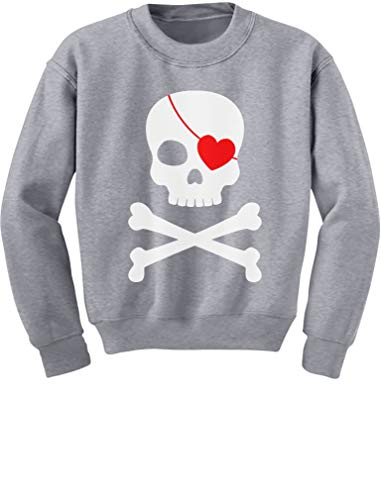 Tstars - Pirate Skull & Heart Valentine's Day Youth Kids Sweatshirt Small Gray