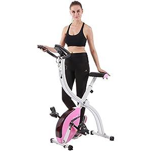 PLENY Foldable Upright Stationary Exercise Bike with 16 Level Resistance, New Exercise Monitor with Phone/Tablet Holder
