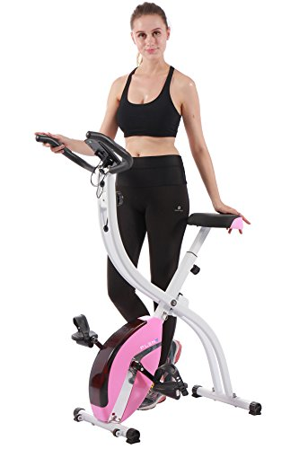 PLENY Foldable Upright Stationary Exercise Bike with 16 Level Resistance, New Exercise Monitor with Phone/Tablet Holder (Pink) (Best Cardio Workout At Home For Women)