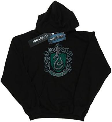 Harry Potter Herren Slytherin Distressed Crest Kapuzenpullover Large Schwarz