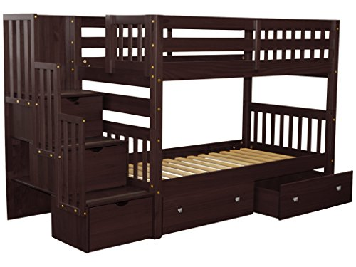 Bedz King Stairway Bunk Beds Twin over Twin with 3 Drawers in the Steps and 2 Under Bed Drawers, Cappuccino 4