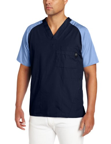 (WonderWink Men's Raglan Color Block 5 Pocket Scrub Top, Navy/Ceil Blue, Medium)