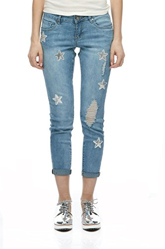 Suko Jeans Women's Power Stretch Denim Skinny Jean Pants 18285 Star 4 Light Blue ()