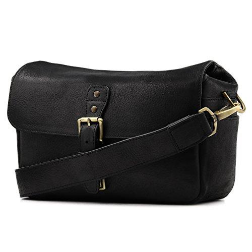 MegaGear MG1331 Genuine Leather Camera Messenger Bag for Mirrorless, Instant and DSLR Cameras - Black