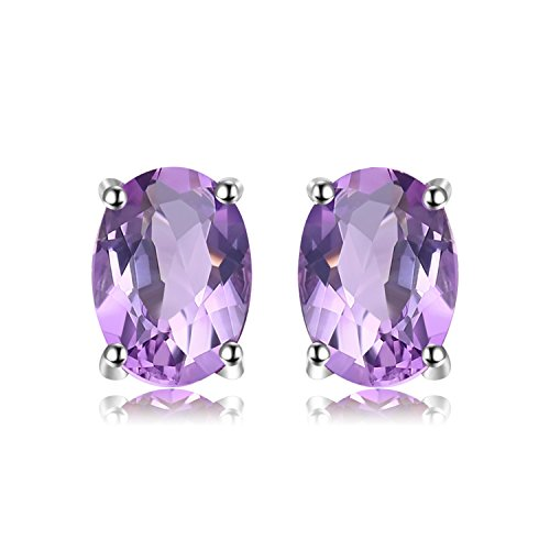 JewelryPalace Birthstone Gemstones 2ct Natural Amethyst Stud Earrings For Women 925 Sterling Silver Stud Earrings For Girls Oval Cut