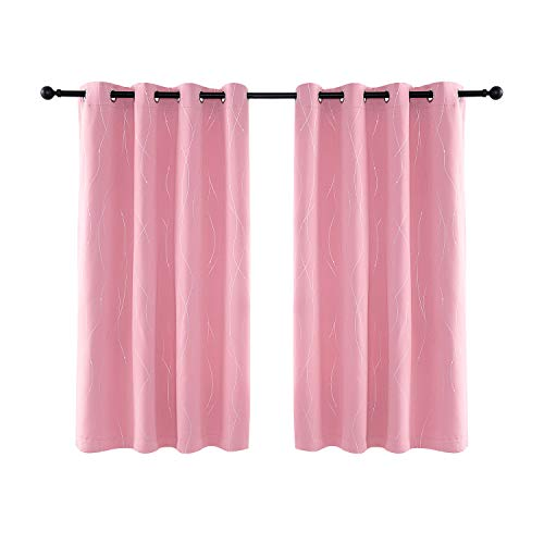 Anjee Eyelet Thermal Insulated Blackout Curtains and Drapes Wave Line with Dots Printed for bedroom living room Children's room Two Matching Tie Backs 46 x 54 inch Pink