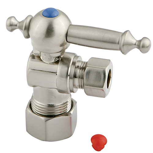 Kingston Brass CC53308TL Vintage 5/8-Inch X 3/8-Inch OD Compression Angle Stop with TL Handle , 2-3/4-Inch, Satin Nickel