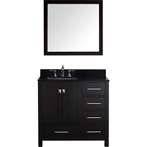 Black Galaxy Granite Countertops - Virtu USA Caroline Avenue 36 inch Single Sink Bathroom Vanity Set in Espresso w/Square Undermount Sink, Black Galaxy Granite Countertop, No Faucet, 1 Mirror - GS-50036-BGSQ-ES