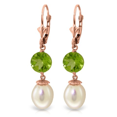 14K Rose Gold Leverback Earrings with Pearls and Peridots