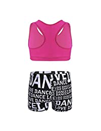 Girls' Kids Dance Sport Outfits Racer Back Top Booty Shorts 2-Piece Active Set