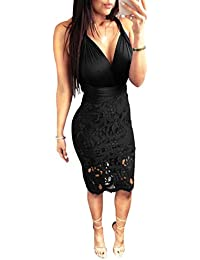 e3985c3c63e Sexy Lace Dresses for Women Summer Sparkly Bodycon V Neck Bandage See Thru Cocktail  Outfits for