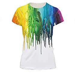 Graffiti On White T-shirt 3D Painting Tees Tops for Women , L=(US M)