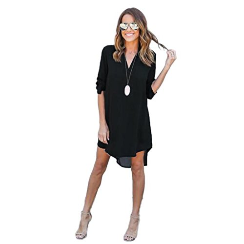 Price comparison product image Luca Women Long Solid Blouse and Tops Mini Dress, Ladies Chiffon 3/4 Long Sleeve Loose Causal T-Shirt Party Dress (Black, XL)
