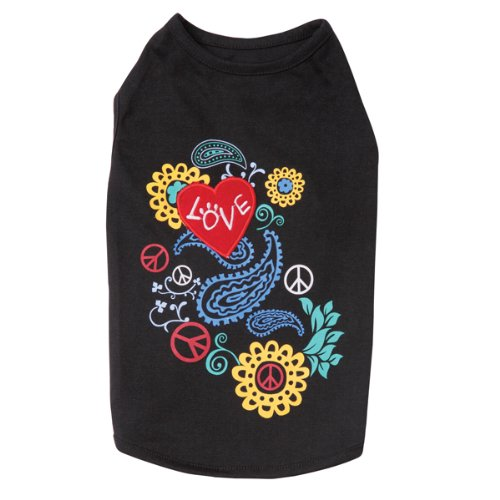 East Side Collection 10-Inch Polyester/Cotton Flower Child Dog Tank, X-Small, Black, My Pet Supplies