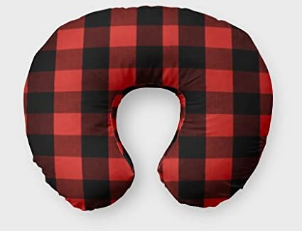AllTot Nursing Pillow Cover in Red and Black Buffalo Plaid - Cover Handmade in the USA FHTBOP