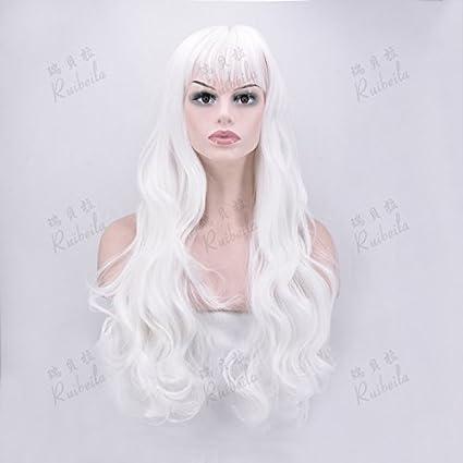 WIAGHUAS Peluca Resistente al Calor Femenino Pelo Largo y Rizado Peluca Blanca Ondulada Resistente al Calor