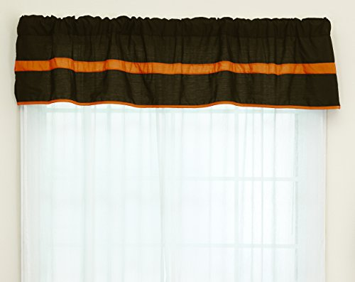 Baby Doll Bedding Solid Stripe Window Valance, Brown/Orange by BabyDoll Bedding