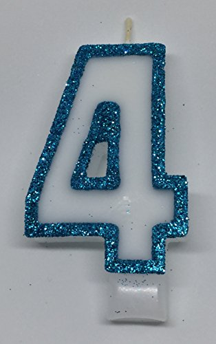 Wasiwax No (4) Birthday Candle - FROZEN BLUE GLITTER - Browse our store and choose other numbers -