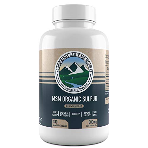 500mg MSM Organic Sulfur Capsules by No Boundaries Health and Wellness – 180 Vegetable Capsules: No Excipients or Fillers – Premium Health Supplement: 99.9% Pure MSM Powder – Joints, Skin, Hair, Nail - Tablets Sulfur