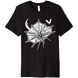 Scary Spider Halloween Tshirt Spiderweb Moon Bat