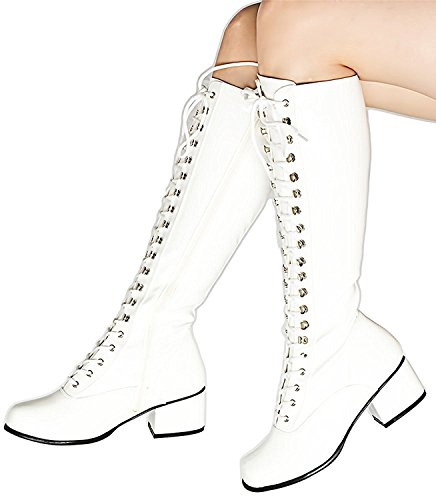 (Cosplay Retro Lace Up Gogo Hipster Clubwear Rave 1960s Groovy Hippie Superhero Womens Boots 9 Off-White)
