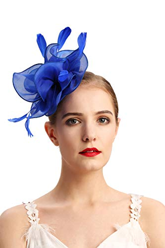 Czioe Flower Cocktail Tea Party Headwear Feather Fascinators Top Hat for Girls and Women(2-royal blue)]()