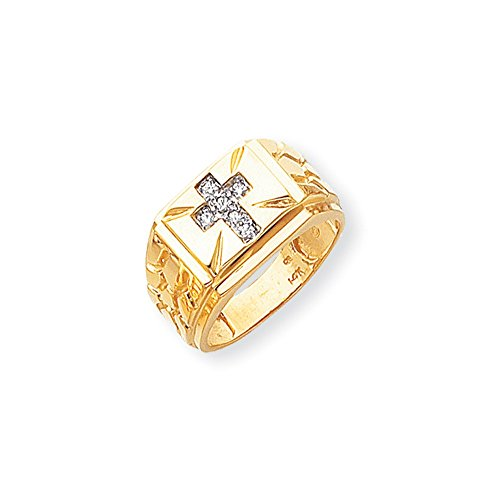 ICE CARATS 14k Yellow Gold Diamond Mens Band Ring Size 10.00 Man Religious Fine Jewelry Dad Mens Gift Set by ICE CARATS (Image #4)