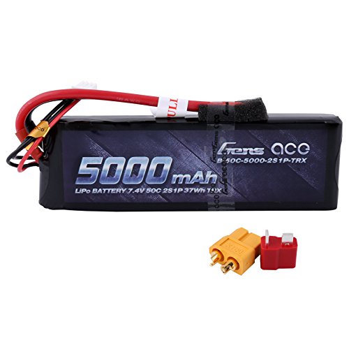 Gens ace 5000mAh 7.4V 2S 50C LiPo Battery Pack with XT60 and Deans Plug for RC Cars Airplane Boat Special Offer
